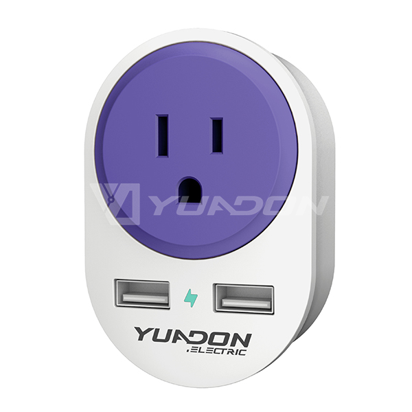 USA to Europe travel adapter with 2 USB YUADON US to EU plug adaptor