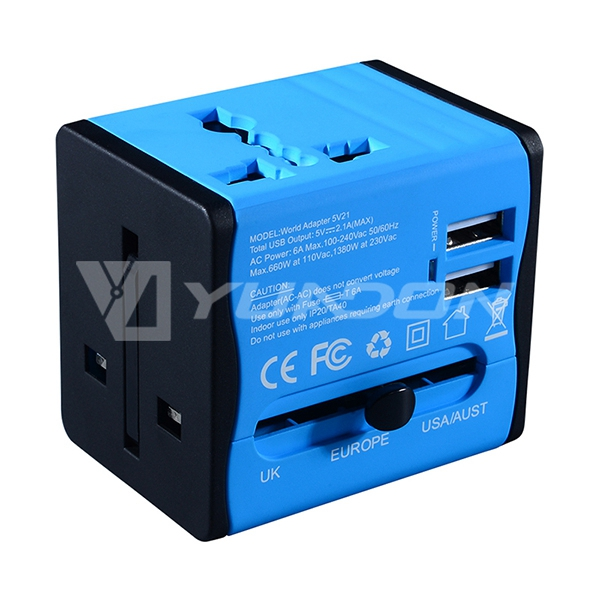 Best corporate gift International power adapter 2 port usb travel adapter travel plug EU UK AU US