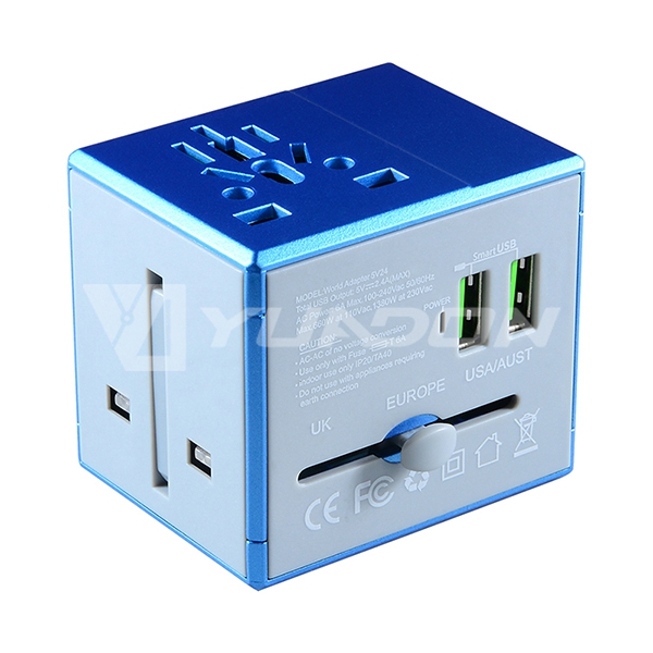 Dual USB Universal Travel Adapter with USA / Australia / Europe / UK Plug International Power Worldwide Universal Travel Adapter