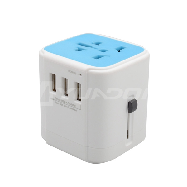 Universal Travel Adapter with 3 USB Ports Electric Power Adaptor with AUS US UK EU Plug