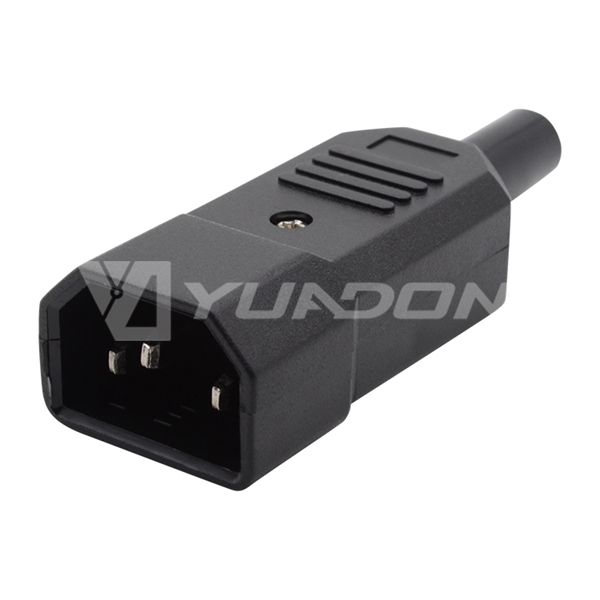 IEC 60320 C14 Male Straight Re-Wireable Plug iec c14 male plug 10A 250V AC Connector with UL