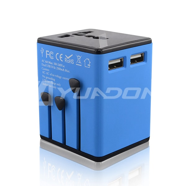 Universal Travel Adapter with 2 USB International Plug Adapter Singapore Malaysia Travel Plug Adapter