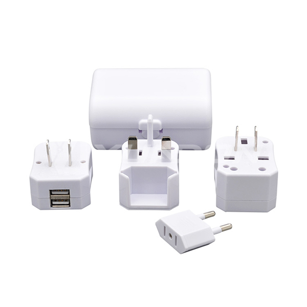 Worldwide Travel Adapter with Case UK / AUS / USA / EURO Power Plug Socket USB Charger 04
