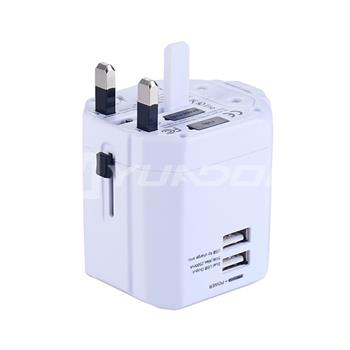 Universal World Wide Travel Charger Adapter International Plug with Dual USB Ports CE Approval 02