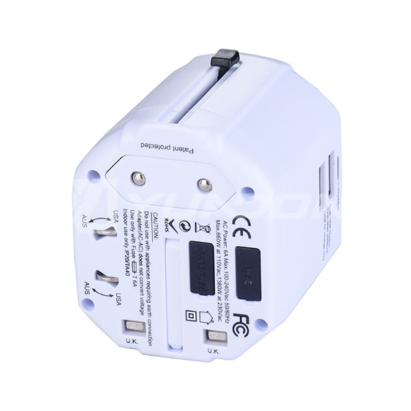 Universal World Wide Travel Charger Adapter International Plug with Dual USB Ports CE Approval 03