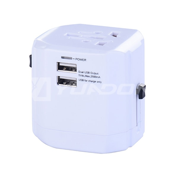 Universal World Wide Travel Charger Adapter International Plug with Dual USB Ports CE Approval